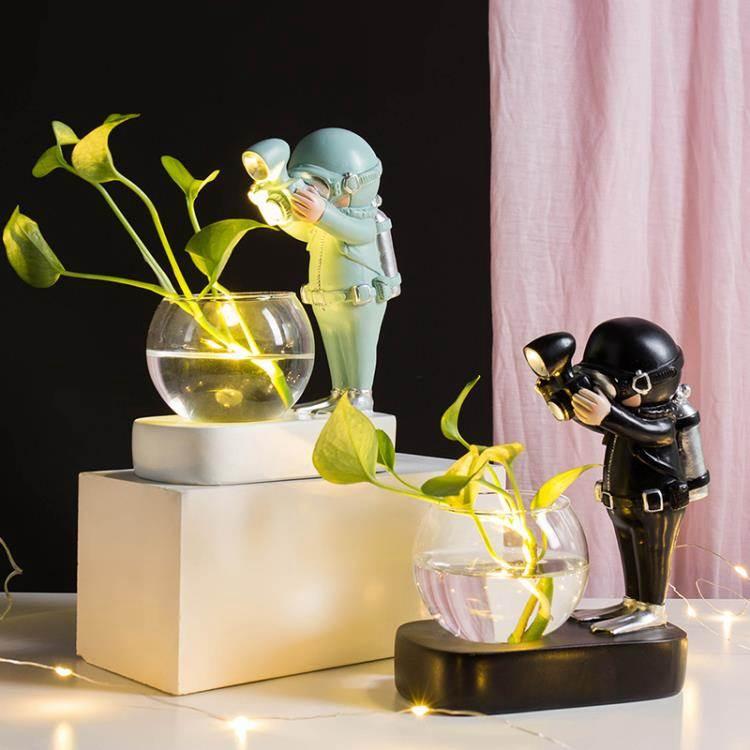 創意ins風宇航員水培擺件玻璃花瓶客廳家居裝飾辦公室桌面小擺設