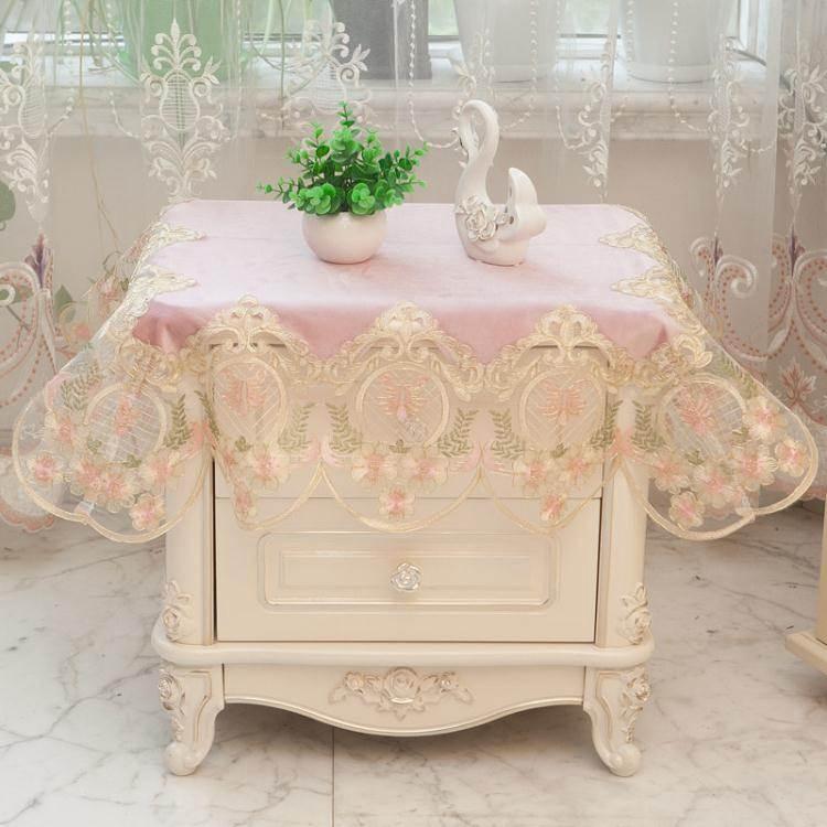 桌布布藝蕾絲臥室床頭櫃蓋布角幾臺布冰箱洗衣機空調防塵罩萬能蓋 夏洛特