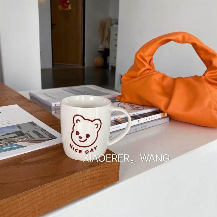 馬克杯 韓國ins可愛奶油小熊陶瓷杯子卡通馬克杯女家用牛奶咖啡杯水杯 免運