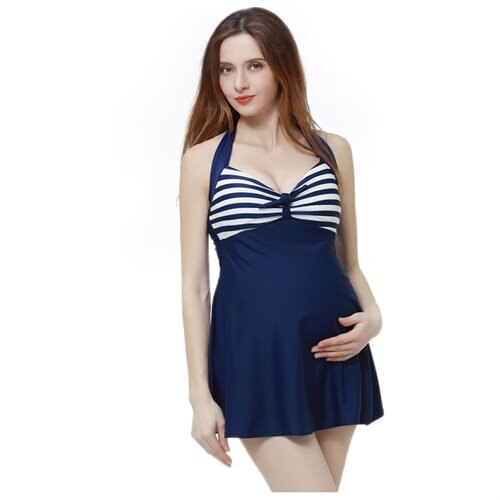 42396b476f0fa Luxury Lane: Momo Maternity UPF 50+ One Piece Halter Swimdress ...