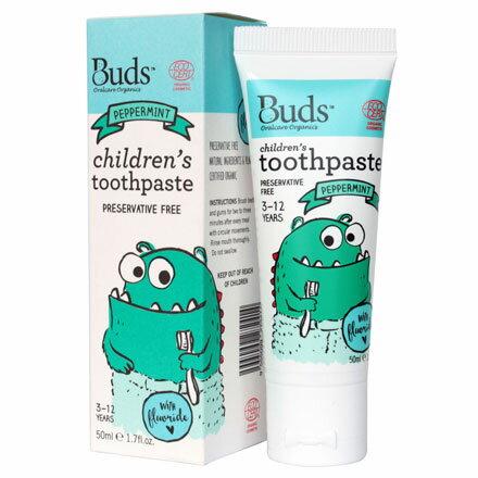 【悅兒園婦幼生活館】Buds 芽芽有機 兒童含氟牙膏-薄荷50ml (3-12歲)