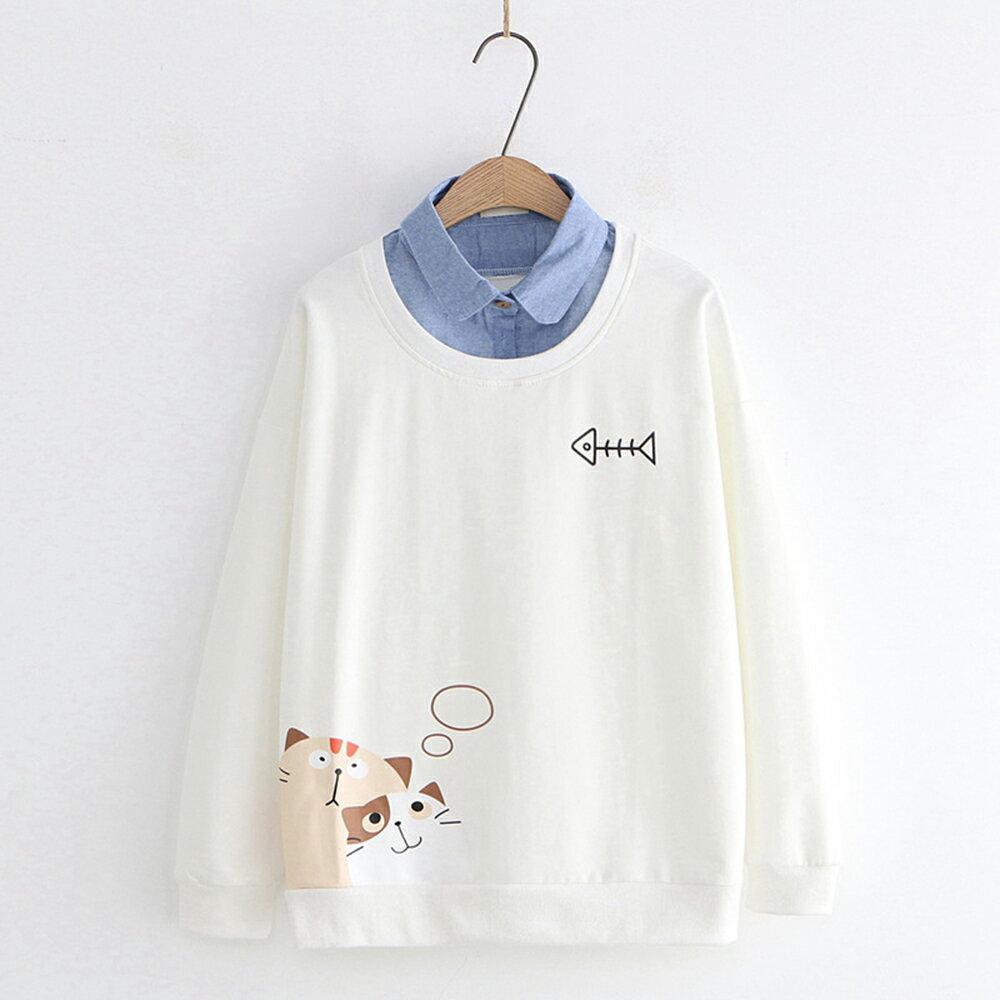 日系森女幻想貓咪印花牛仔領假兩件上衣(2色M,L)【OREAD】 2