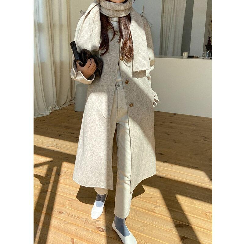 羊毛純色圍巾女新款韓版披肩百搭簡約披圍脖兩用外搭