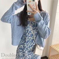 針織外套推薦到【double U 】現貨+預購 溫柔感~鏤空針織外套·淺藍色就在Double U推薦針織外套