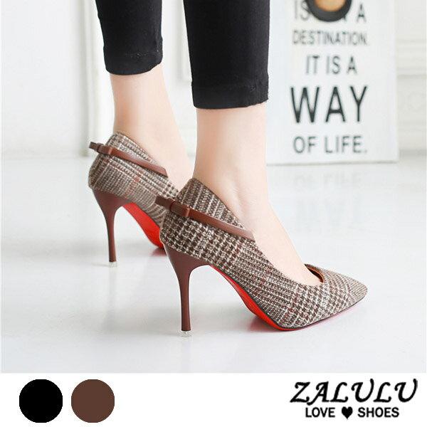 ZALULU愛鞋館7CE108預購經典千鳥格細高跟名媛包鞋-咖啡黑-35-39