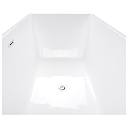 "67"" White Grey Acrylic Bathtub Freestanding Bathroom Shower Spa Body Contemporary Rectangular Bath T 2"