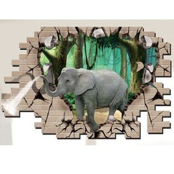 BO雜貨【YV1799-1】創意可重覆貼壁貼地板貼時尚組合壁貼超大3D立體穿牆大象噴水DM69-001