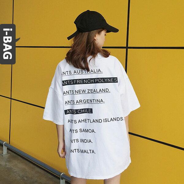 B.A.G*現+預*【TB1523】韓版男友風寬鬆字母短袖上衣(現+預)