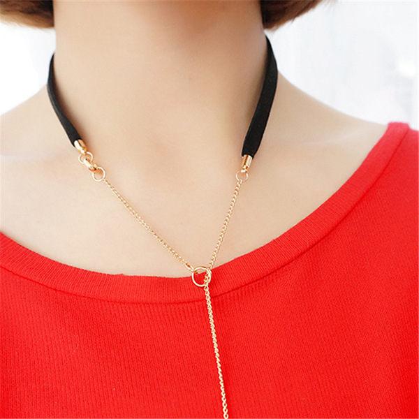 PS Mall 韓版 時尚金屬開放式黑色仿麂皮項圈 頸鏈 圍巾式長棍項鍊頸飾【G2112】