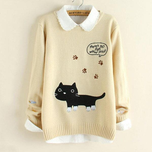 針織衫 森林系貓咪貼布繡圓領毛衣上衣 日系 ~55~24~813992~ibella 艾貝