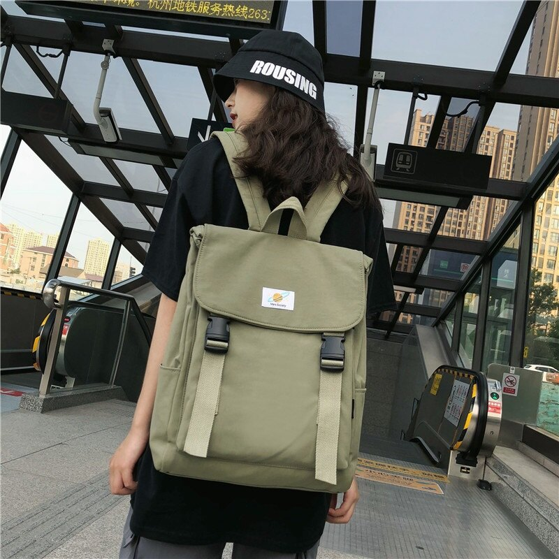 後背包尼龍雙肩包-純色休閒大容量方型女包包4色73wy15【獨家進口】【米蘭精品】 1