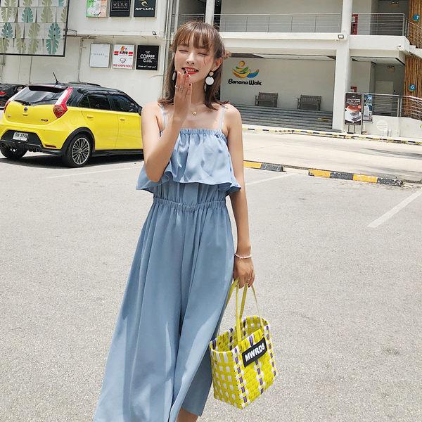 PS Mall 九分褲子寬鬆顯瘦吊帶連身寬口褲 連身褲【T356】 0