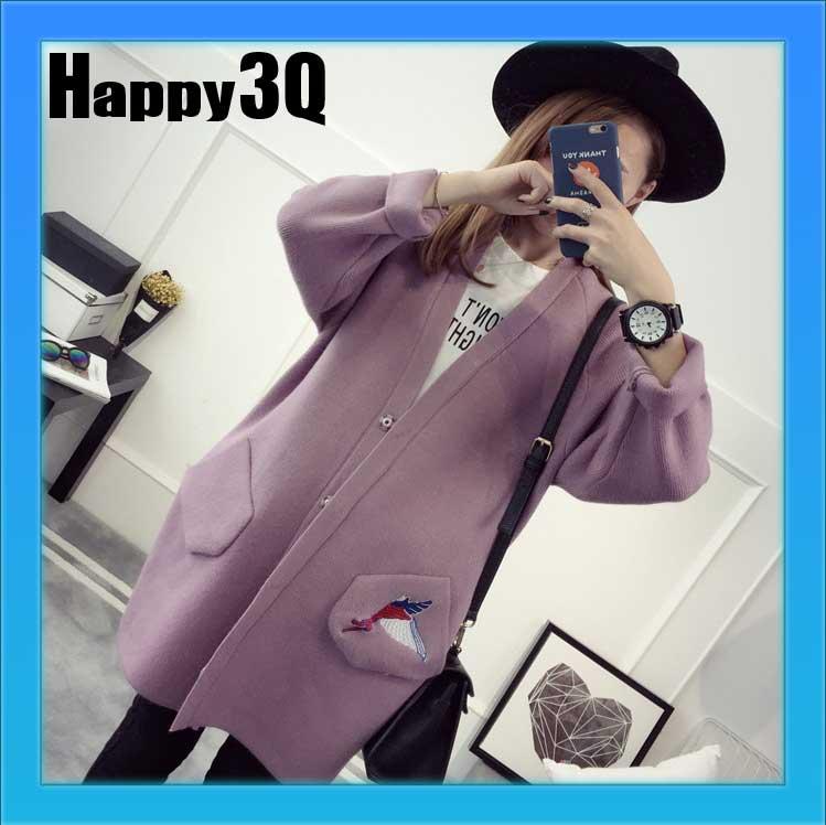 長版毛衣口袋針織大衣開襟刺繡外套~粉 灰綠 紫~AAA0880~