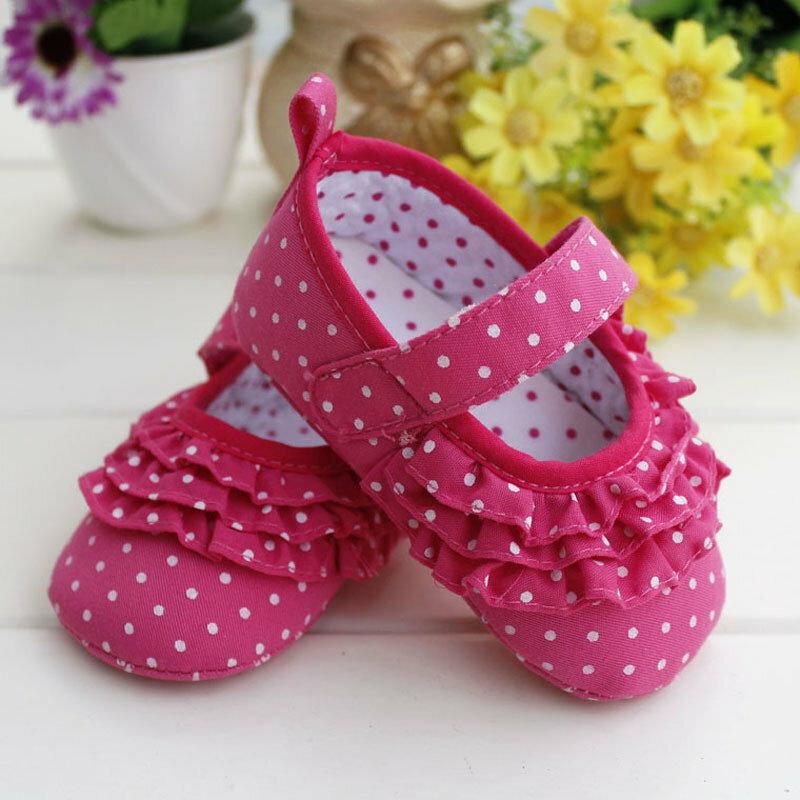 女寶寶學步鞋軟底嬰兒花童鞋-桃紅色木耳邊款