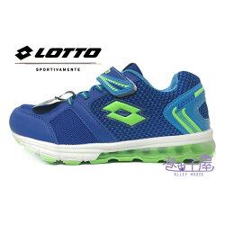 【巷子屋】義大利第一品牌-LOTTO 男童極光編織氣墊夜光運動慢跑鞋 [5806] 藍 超值價$498
