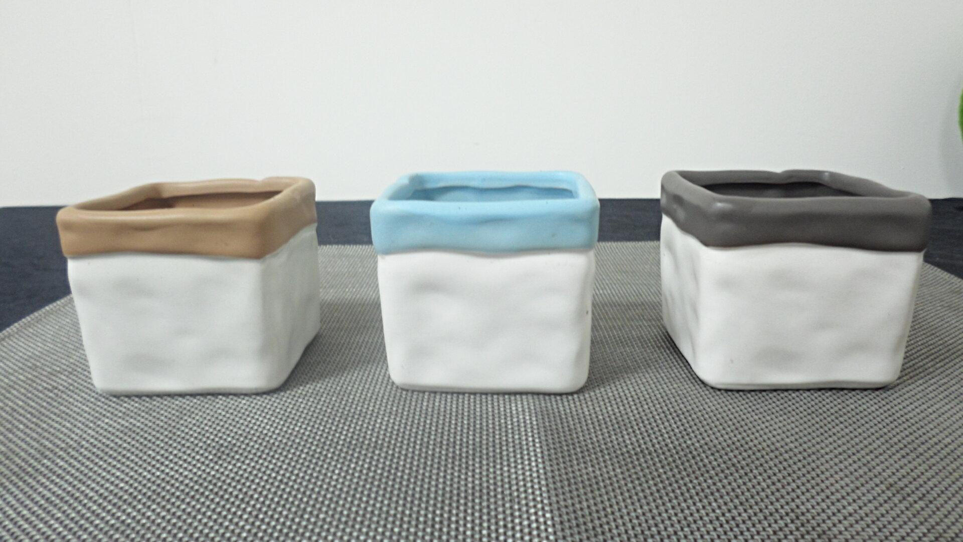 鄉村風 小方陶瓷盆器(黑/藍/咖啡) 花器  擺飾  ★棉花糖家飾精品★