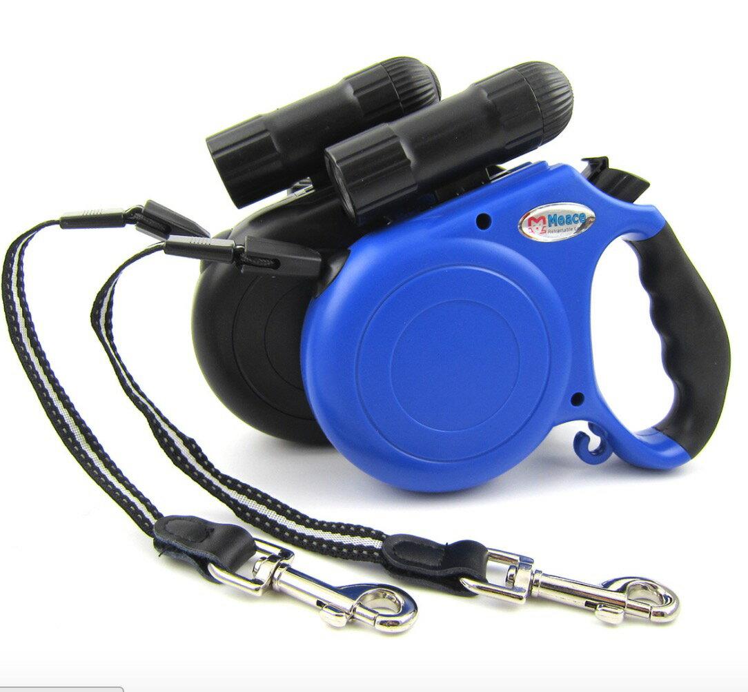 5米LED強光手電寵物牽引器自動伸縮牽引繩 狗猫 小中型犬適用s332