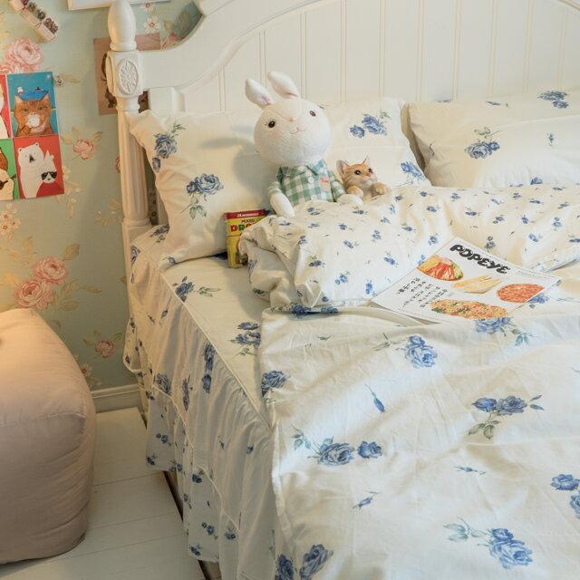 藍莓花園  雙人加大鋪棉床裙三件組 100%精梳棉 台灣製 3