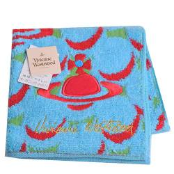 Vivienne Westwood 波紋行星刺繡字母小方巾(水藍)