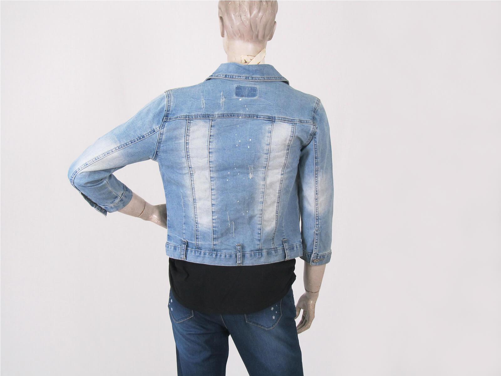 短版牛仔外套 單寧外套 七分袖 防曬外套 百搭外套 女款丹寧外套 擋風外套 夾克外套 實拍 DENIM JACKET (002-A136-32)淺牛仔 M、L 胸圍:36~38英吋 (女) [實體店面保障] sun-e 7