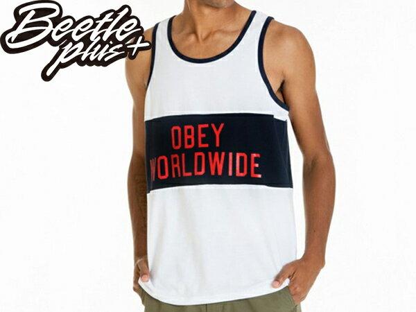 BEETLE PLUS 西門町經銷 全新 美國品牌 OBEY MARATHON 貼布 WORLDWIDE 白 黑白 深藍 黑紅 標語 背心 TANK 134050031WHT OB-355 - 限時優惠好康折扣