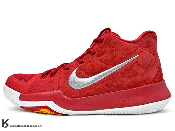 2017 Kyrie Irving 最新代言鞋款 NIKE KYRIE 3 III GS RED SUEDE 大童鞋 女鞋 全紅 紅白 麂皮 HYPERFUSE 鞋面 UNCLE DREW (8594..
