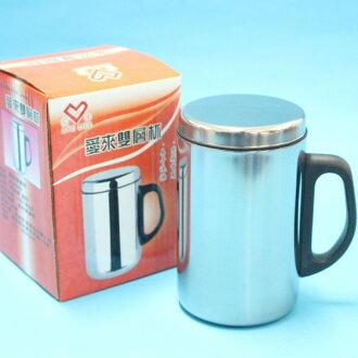 不鏽鋼鋼杯 愛來雙層保溫杯 AL45587 辦公杯加杯蓋350ml(盒裝)/一個入{促90}~秉U29X001
