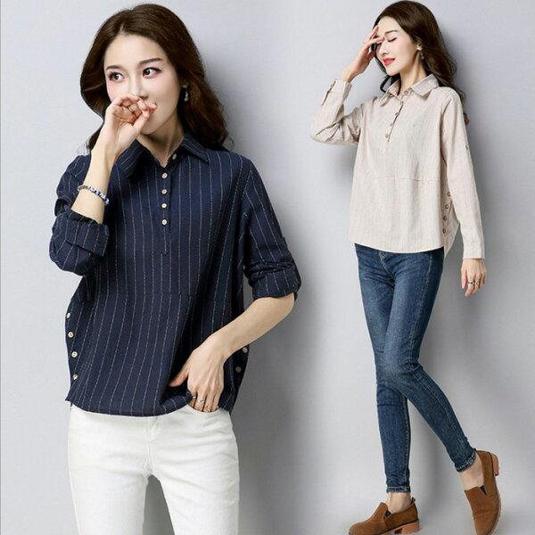 糖衣子輕鬆購【GH6535】韓版時尚寬鬆休閒文藝棉麻條紋長袖襯衫