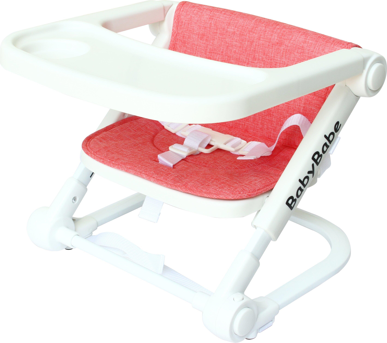 【紫貝殼】BabyBabe 攜帶式嬰兒餐椅-亞麻灰/亞麻紅 B906