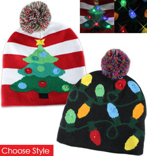 Lotsa Lites Flashing Holiday Knitted Hats 0