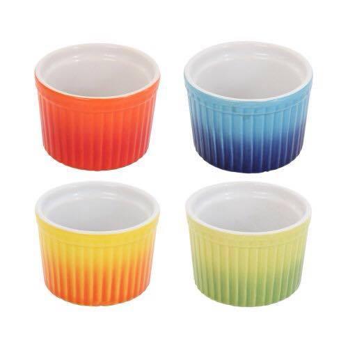 HOMA 彩色廚房 無鉛無毒 細條紋彩色烘培烤盅 陶瓷烤杯 烘焙器材 舒芙蕾烤盅 四色一組