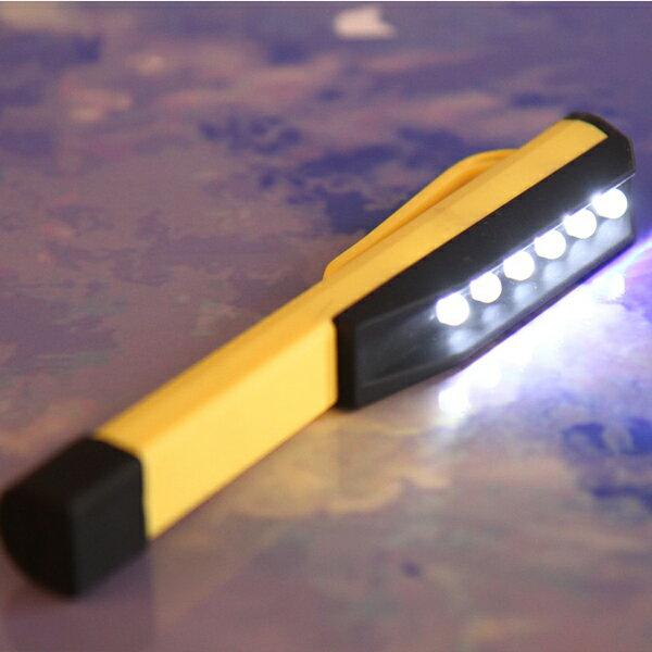 BO雜貨:BO雜貨【SV6399】6LED筆燈筆形工作燈筆夾燈維修燈手電筒照明燈隨身緊急照明迷你型警示燈