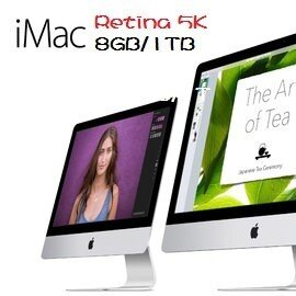 Apple 蘋果  iMac MK462TA/A Rtina 5K 27吋AIO桌機 Retina 5K /i5-3.2/2x4GB/1TB SATA/M380-2G/Rtina 5k