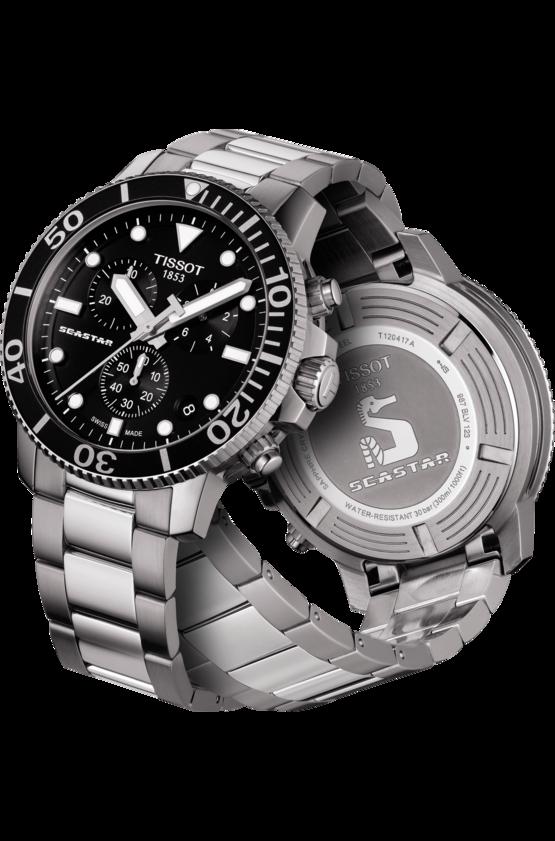 TISSOT 天梭 T1204171105100 SEASTAR海洋之星潛水錶 小鬼配戴款 黑 鋼帶 45.5mm 3