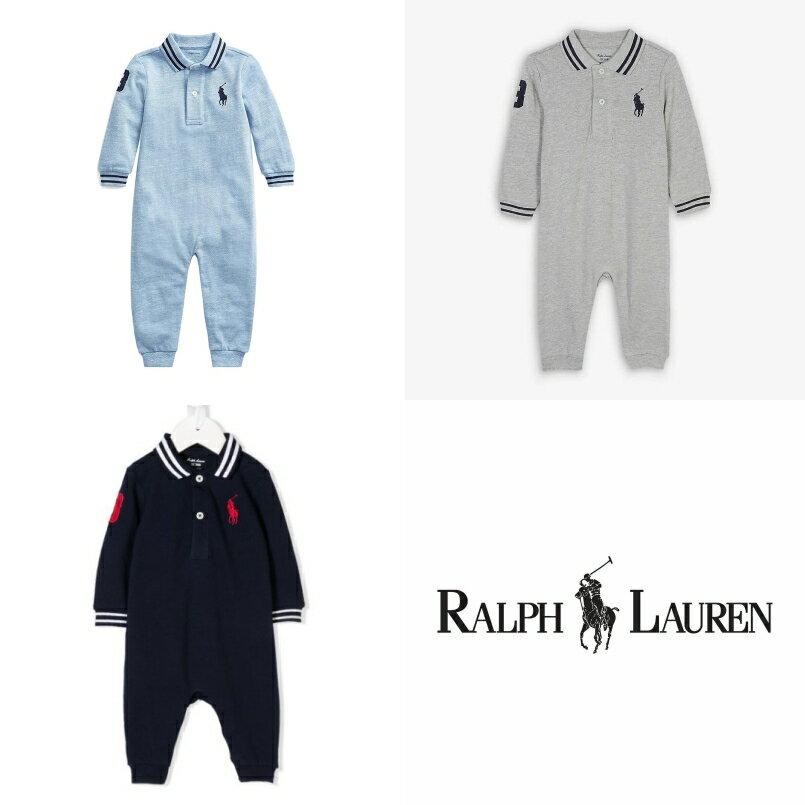 美國百分百【Ralph Lauren】嬰兒包屁衣 長袖連身裝 RL大馬網眼Polo衫 男寶女寶 新生兒 3M 現貨 藍灰