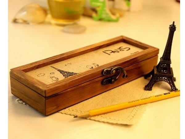 BO雜貨【SV6176】韓版 木質多功能文具盒 收納盒 複古麻布封面鉛筆盒
