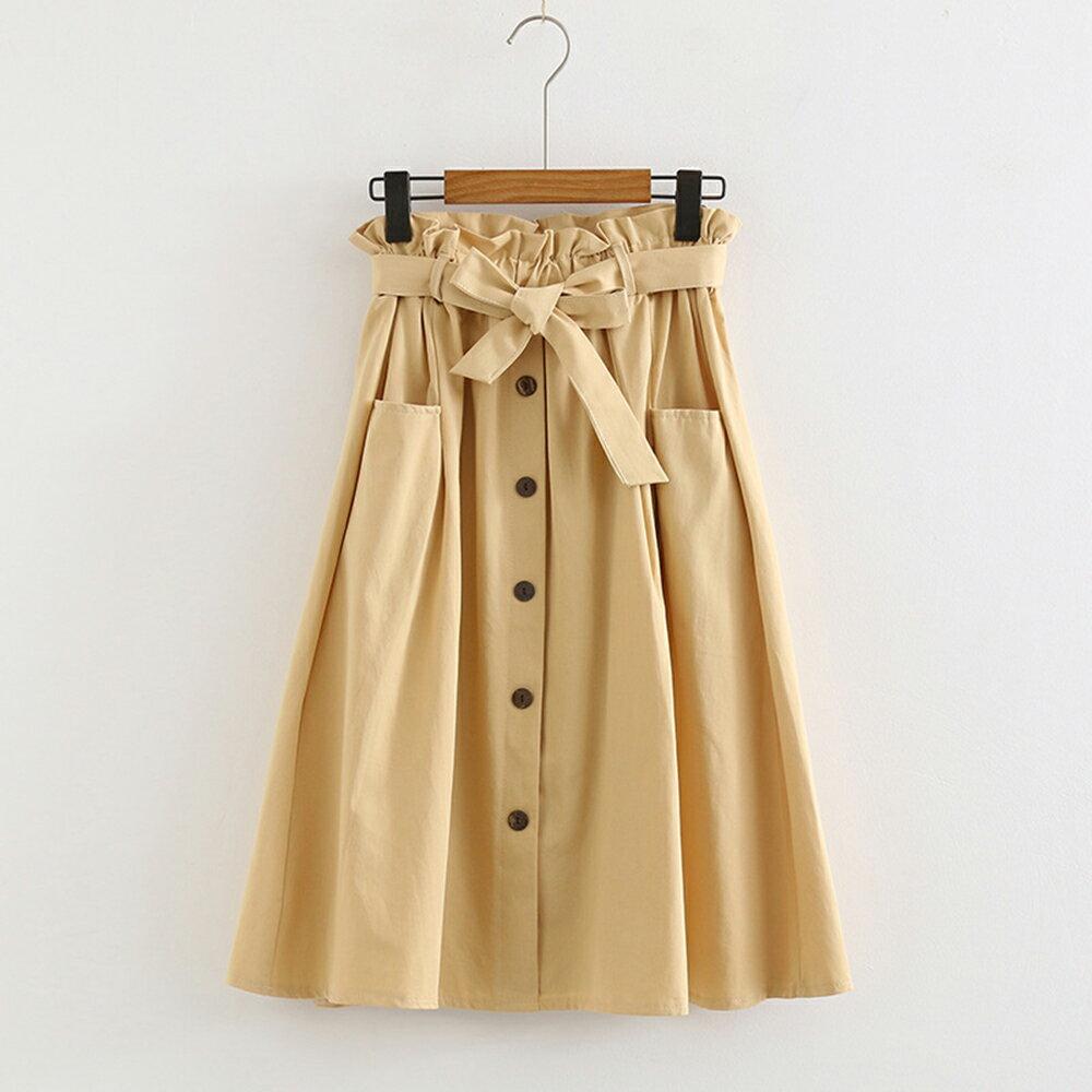 小清新大口袋高腰棉麻繫帶半身裙(4色F碼)【OREAD】 0