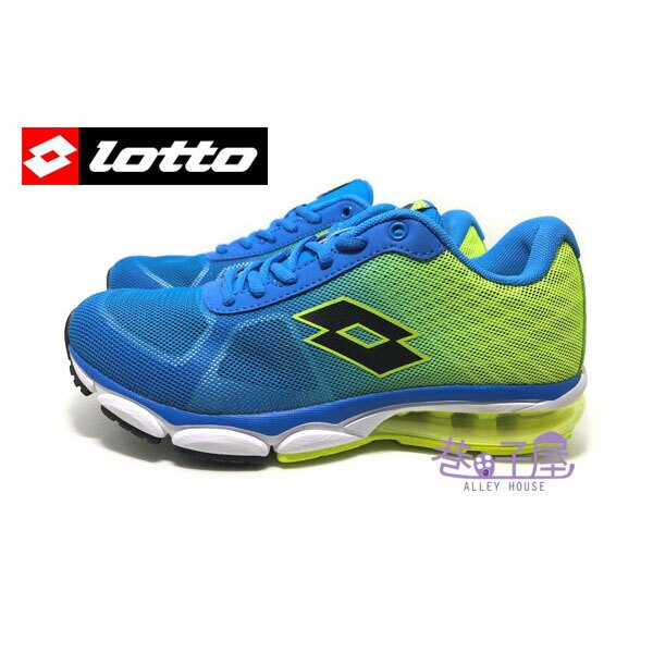 【巷子屋】義大利第一品牌-LOTTO樂得 男款翼行者II氣墊運動慢跑鞋 [3786] 藍螢光綠 超值價$690