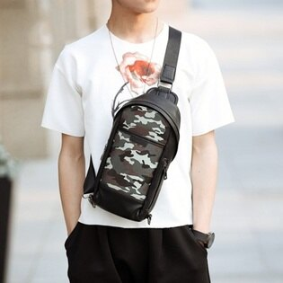 胸包皮革肩背包-韓版時尚迷彩休閒男包包73rv56【獨家進口】【米蘭精品】