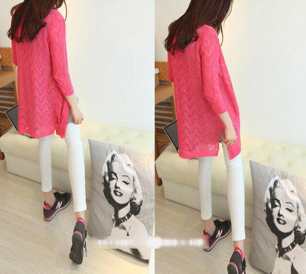 韓版針織外套 艾爾莎 糖果色長版波浪鏤空防曬空調衣罩衫開衫開叉外套【TAE2185】 1