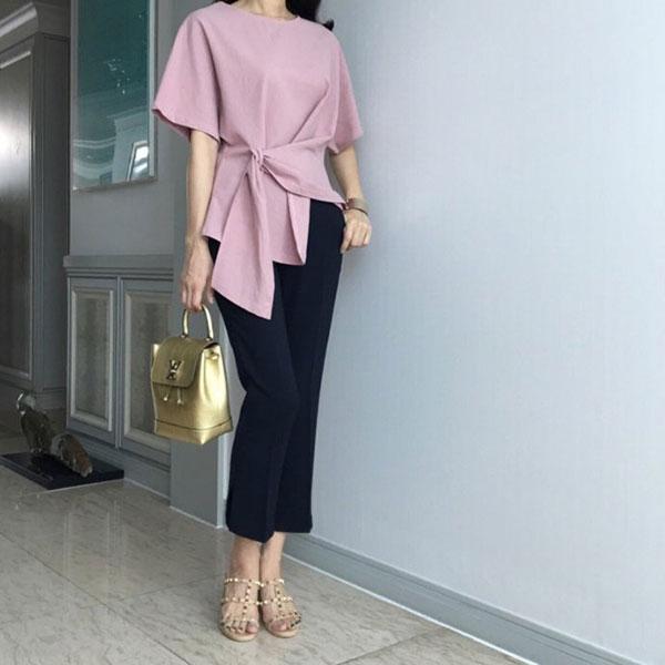 ANNAS 正韓 側綁素T 短袖 棉T 造型 設計師款 素面 顯瘦 百搭 氣質 上班族 韓國