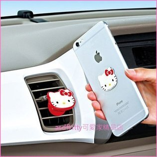 asdfkitty可愛家☆KITTY紅色臉型車用強力磁鐵手機架手機座-日本正版商品