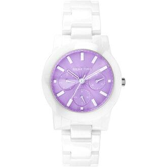 RELAX TIME繽紛三眼陶瓷紫面腕錶(RT-52-2)