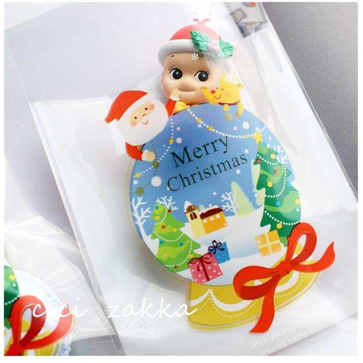 【嚴選SHOP】95入 聖誕水晶球自黏袋 OPP袋  耶誕派對袋 透明包裝袋 餅乾袋 飾品 糖果甜點 封口袋【X018】