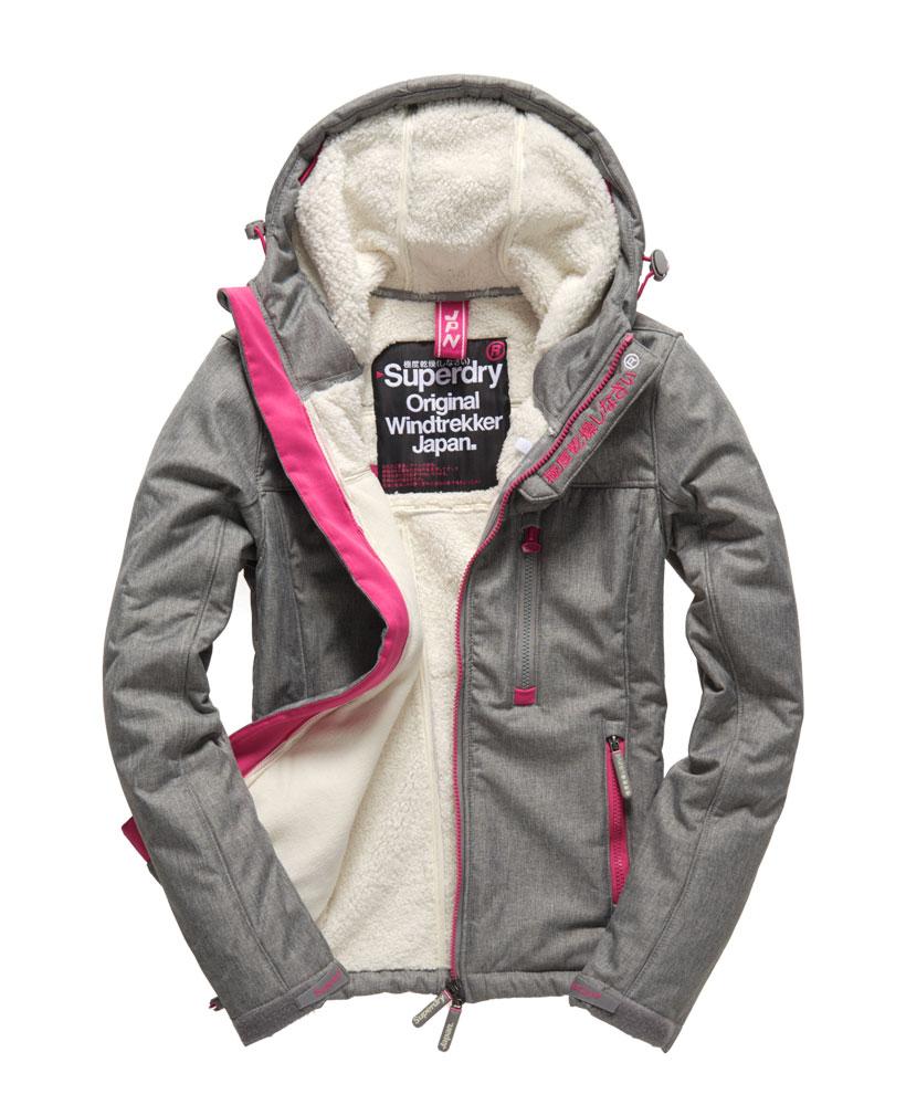 [女款]Outlet英國代購極度乾燥 Superdry Windtrekker 女款 羊羔毛 刷毛 風衣連帽防風防水外套 淺麻灰 0