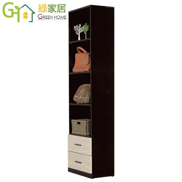【綠家居】梅蒂時尚2尺開放式二抽衣櫃收納櫃(開放層格+二抽屜)