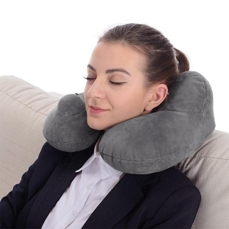 按壓自動充氣u型枕頭旅行椎脖枕駝峰拆洗飛機靠枕便攜充氣枕