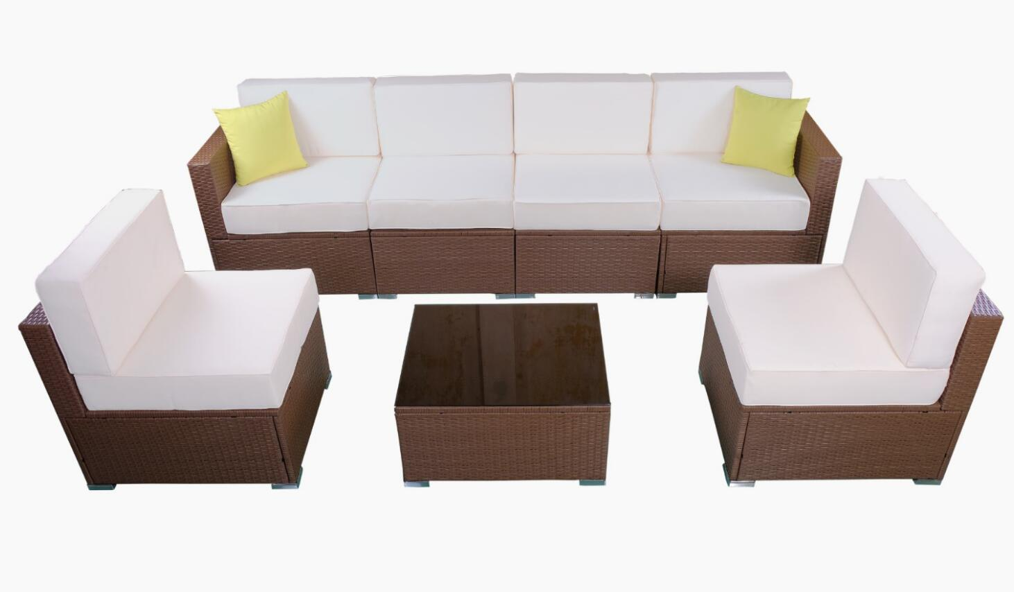 MCombo Patio Furniture Sectional Sets Wicker Rattan Couch Sofa Chair Luxury  Big Size 7 PC 0