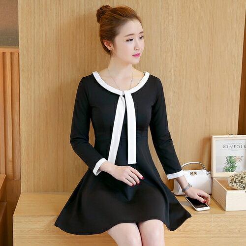 SaSa 韓系設計簡約高腰顯瘦赫本黑裙長袖洋裝