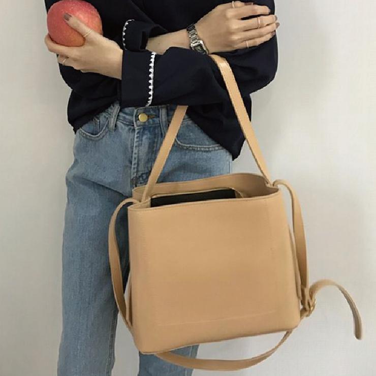 免運+24H出貨【韓國復古兩用水桶包】韓國包包 復古包 手提包 肩背包 大容量斜背包 側背包 肩背包 水桶包【AB102】